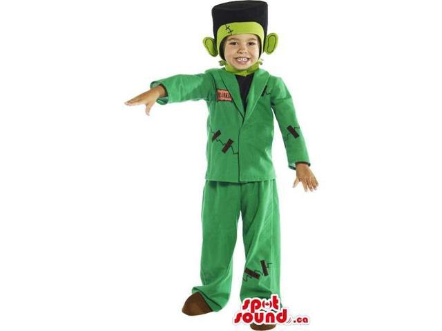 Cute Green Frankenstein Children Size Costume With Clothes
