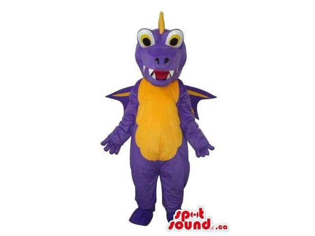 Purple Dragon Plush Canadian SpotSound Mascot With Round Eyes And Yellow Belly
