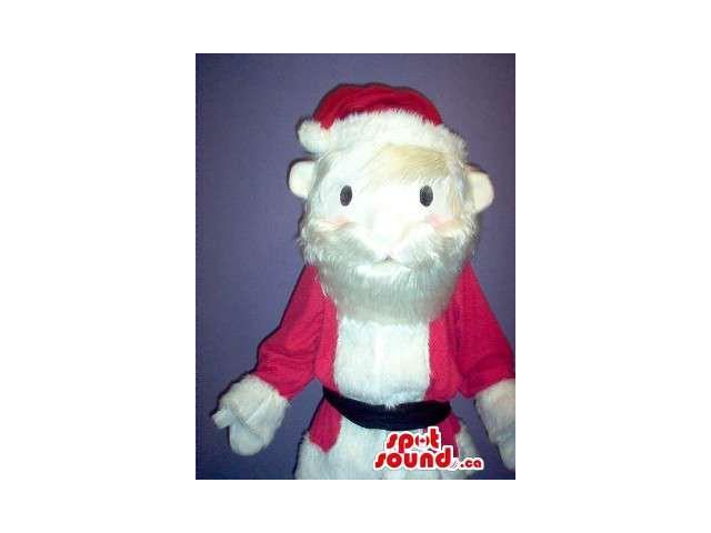 Large Santa Claus Plush Canadian SpotSound Mascot With A Large White Beard