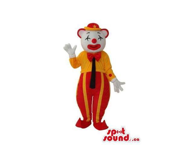 White Clown Canadian SpotSound Mascot With Shut Eyes And Yellow And Red Gear
