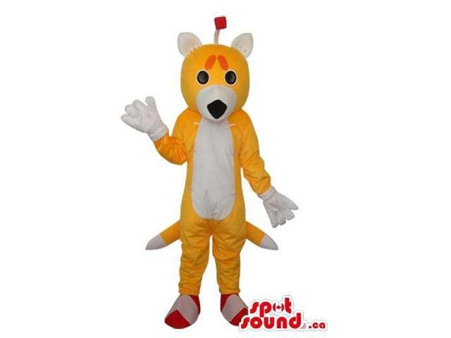 Cute Fairy-Tale Yellow Fox Plush Canadian SpotSound Mascot With A White Belly