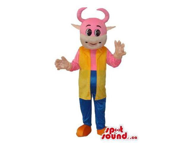 Fairy-Tale Pink Cow Animal Canadian SpotSound Mascot With A Long Yellow Vest