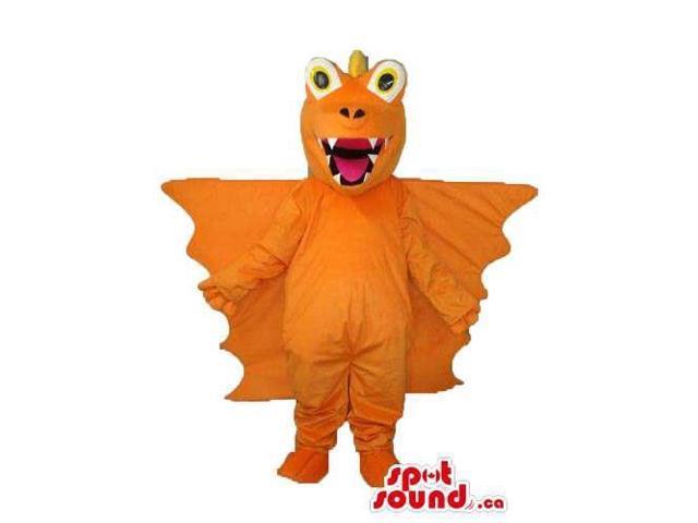 Cute Orange Bat Halloween Plush Canadian SpotSound Mascot With Round Eyes