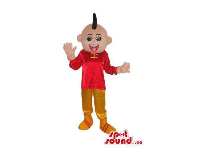 Oriental Boy Character Plush Canadian SpotSound Mascot Dressed In Oriental Shinny Gear