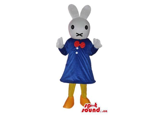 Miffy It Rabbit Cartoon Story Character Canadian SpotSound Mascot With Blue Dress