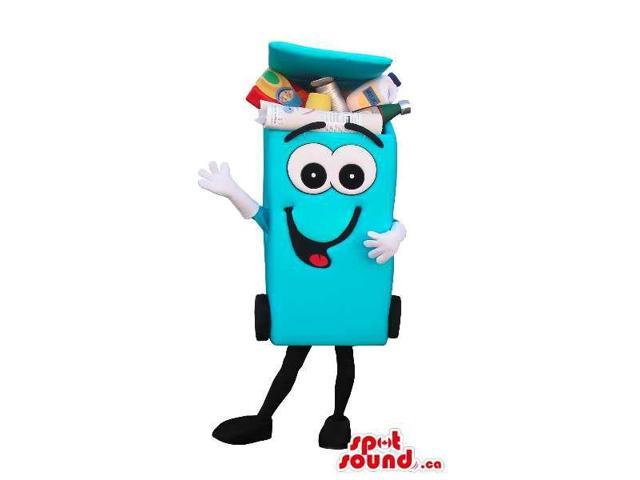 Blue Recycling Trash Can Canadian SpotSound Mascot With A Cartoon Face