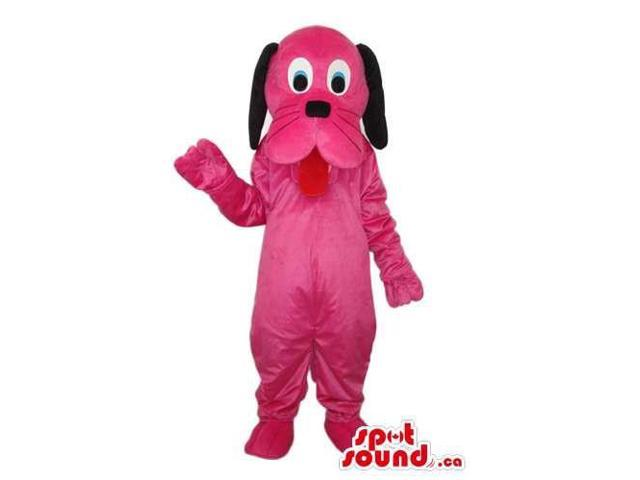 Cute Pink Dog Plush Canadian SpotSound Mascot With Long Black Ears And Tongue
