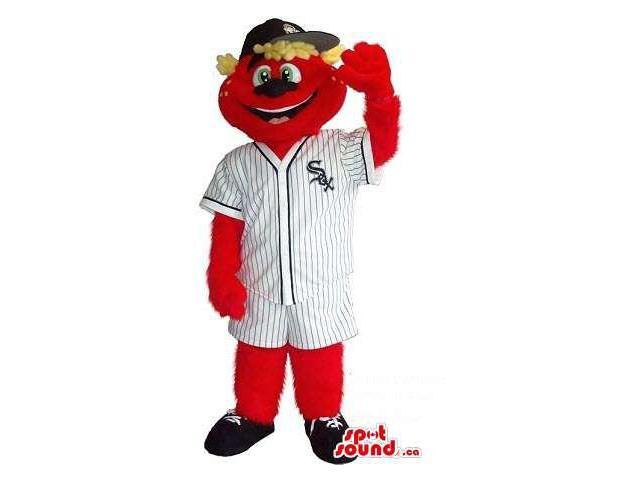 Red Bear Plush Canadian SpotSound Mascot Dressed In Baseball Clothes With Team Logo