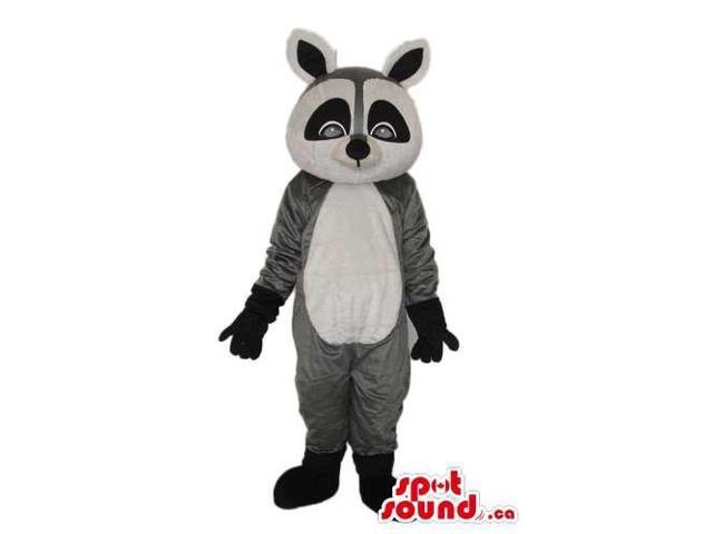 Cute Grey And Black Raccoon Plush Canadian SpotSound Mascot With Grey Eyes