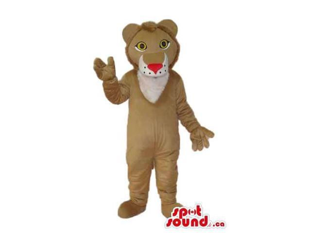 Cartoon Cute Beige Lion Plush Canadian SpotSound Mascot With A Red Nose