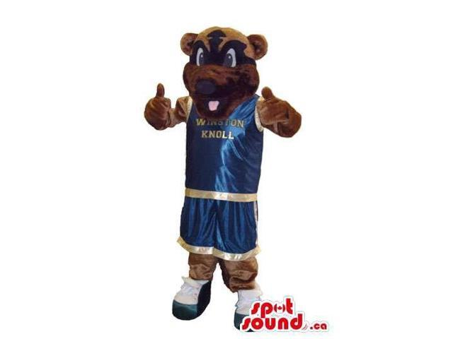Brown Bear Plush Canadian SpotSound Mascot Dressed In Basketball Player Shinny Clothes