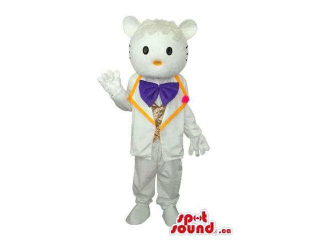 Kitty Boy Cat Cartoon Canadian SpotSound Mascot With White Elegant Clothes