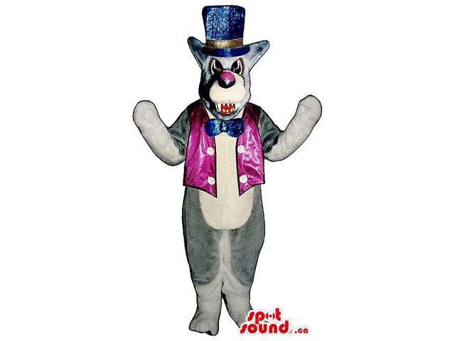 Grey Angry Wolf Plush Canadian SpotSound Mascot Dressed In Shinny Circus Clothes