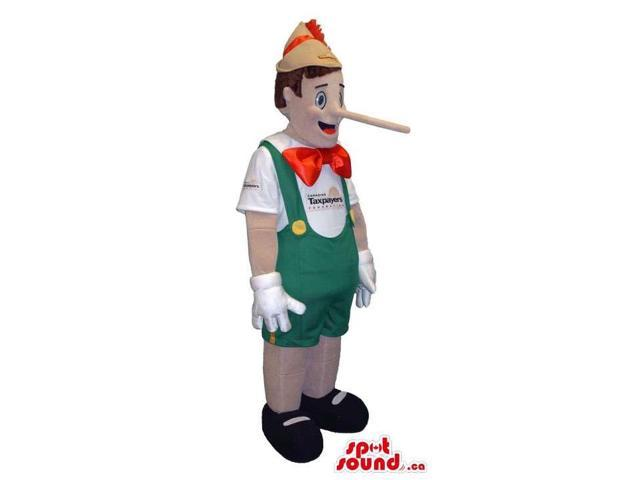 Tale Character Pinocchio Canadian SpotSound Mascot With Green And Red Clothes