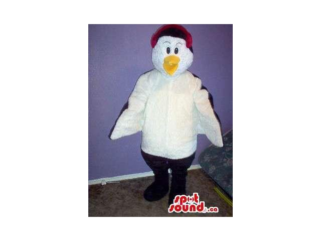 White And Black Bird Plush Canadian SpotSound Mascot With A Red Head