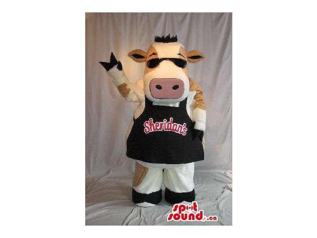 Cow Plush Canadian SpotSound Mascot Dressed In Sunglasses And An Apron With Brand Name