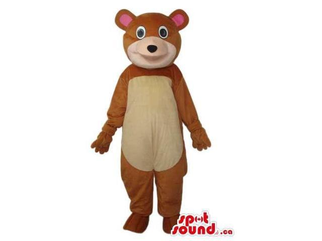 Fairy-Tale Cartoon Brown Bear Plush Canadian SpotSound Mascot With Beige Belly And Face