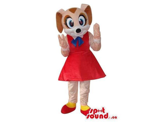 Cute Girl Bunny Plush Canadian SpotSound Mascot With Bent Ears Dressed In A Red Dress