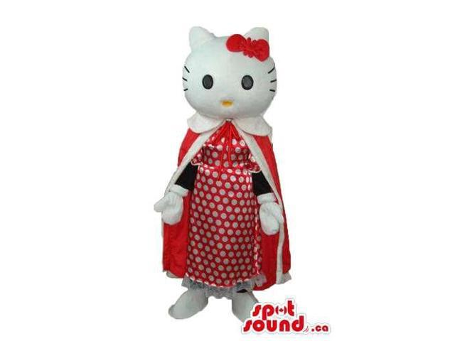 Kitty Cat Cartoon Canadian SpotSound Mascot With A Long Red Dress And Dots Dress