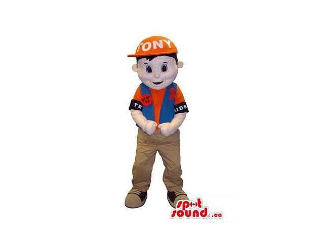 Boy Canadian SpotSound Mascot Dressed In Street Gear And A Cap And Badge With Text