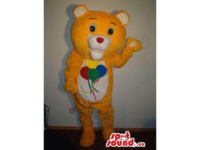 Peculiar Yellow Bear Canadian SpotSound Mascot With Balloons On Its Belly