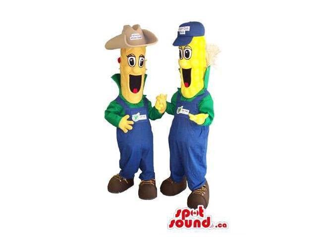 Corncob Plush Canadian SpotSound Mascots Dressed In Farmer Gear With Logo