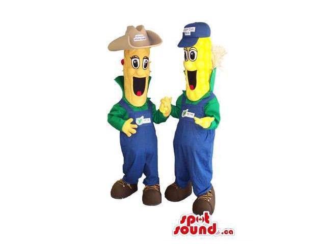 Corncob Plush Canadian SpotSound Mascots Dressed In Farmer Gear With Logo