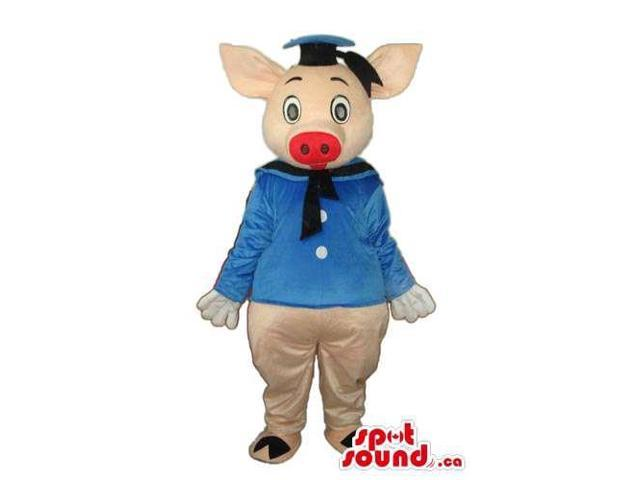 Three Pigs Cartoon Character Plush Canadian SpotSound Mascot With Blue Clothes