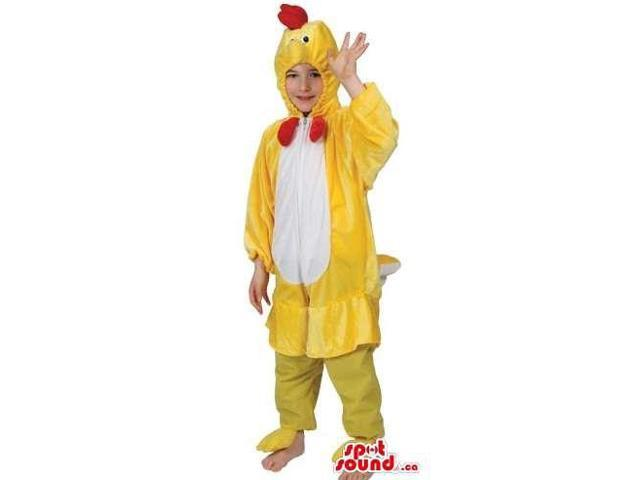 Cute Yellow And White Chicken Children Size Plush Costume