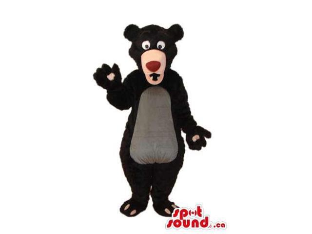 Black Bear Forest Plush Canadian SpotSound Mascot With A Grey Belly And Red Nose