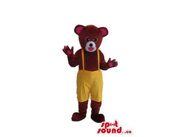 Brown Bear Forest Plush Canadian SpotSound Mascot Dressed In Yellow Overalls
