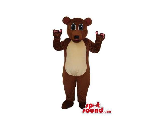 Brown Bear Plush Canadian SpotSound Mascot With A Beige Belly And Pink Finger Tips