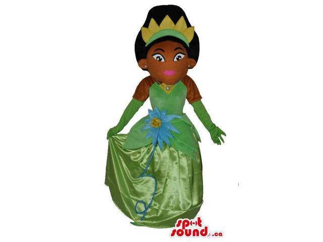 Girl Character Canadian SpotSound Mascot Dressed In A Green Prom Dress And Crown