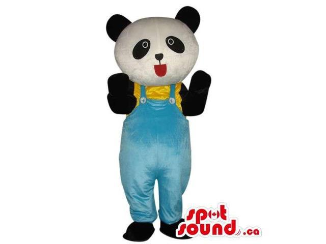 Cute Panda Bear Plush Canadian SpotSound Mascot Dressed In Blue Overalls