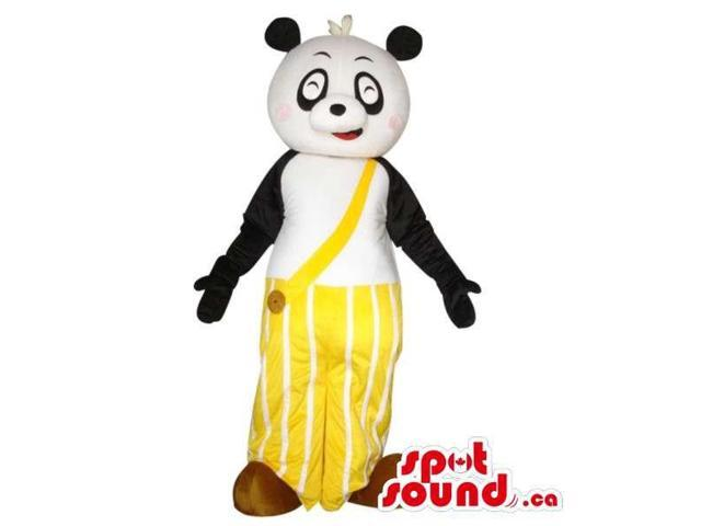 Cute Panda Bear Plush Canadian SpotSound Mascot Dressed In Yellow Long Pants