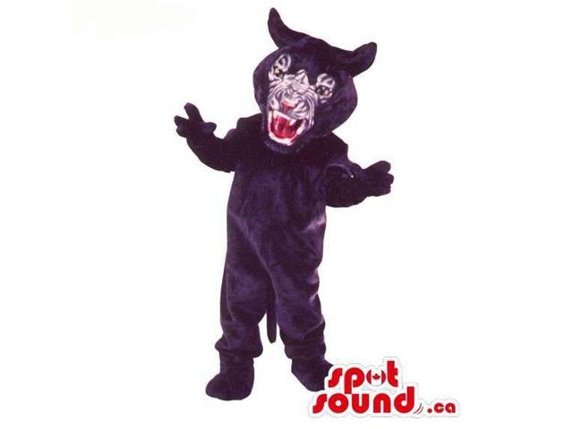 Wild Black Panther Animal Plush Canadian SpotSound Mascot With An Angry Face
