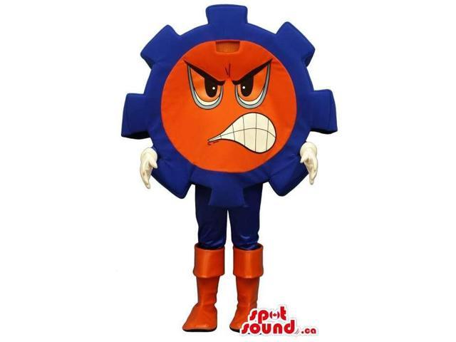 Cartoon Angry Flashy Red And Blue Large Machine Gear Canadian SpotSound Mascot