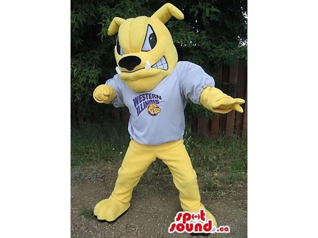 Yellow Angry Dog Canadian SpotSound Mascot Dressed In T-Shirt With Logo