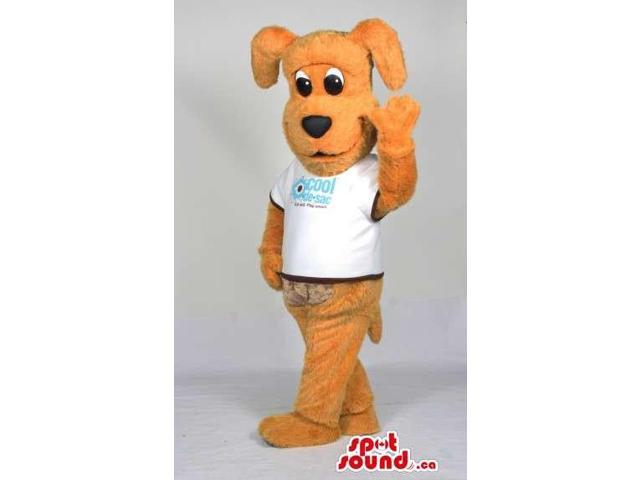 Cute Yellow Dog Animal Plush Canadian SpotSound Mascot Dressed In A White Logo T-Shirt