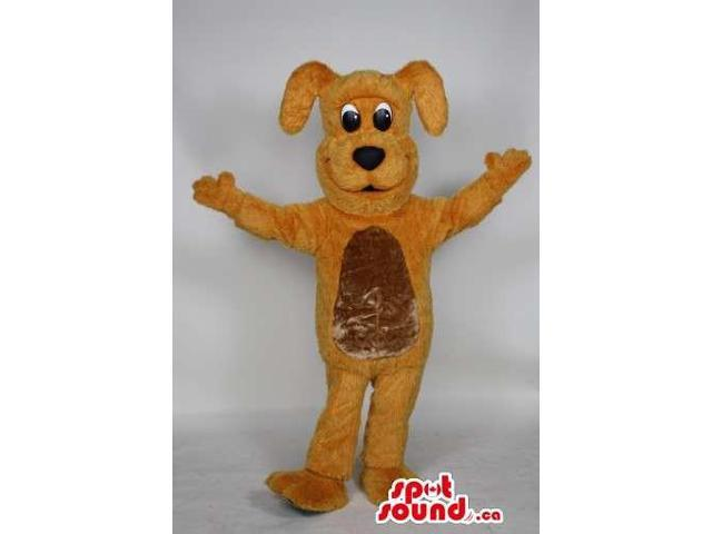 Cute Yellow Dog Animal Plush Canadian SpotSound Mascot With A Golden Belly
