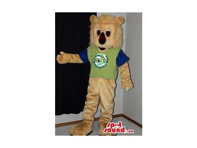 Beige Lion Animal Plush Canadian SpotSound Mascot Dressed In A Green And Black T-Shirt