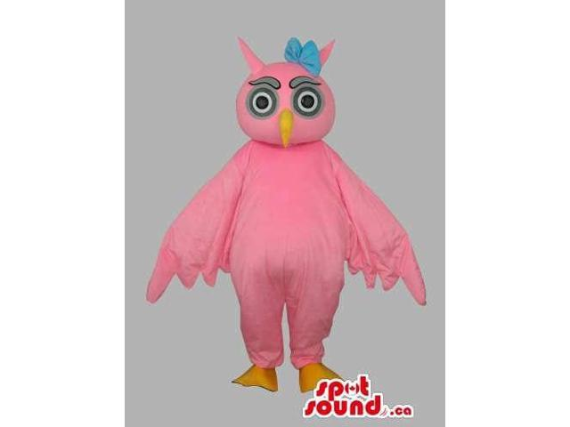 All Pink Owl Bird Customised Canadian SpotSound Mascot Dressed In A Blue Ribbon