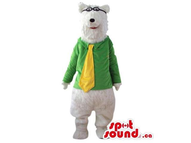 White Bear Plush Canadian SpotSound Mascot Dressed In Glasses And Yellow Tie