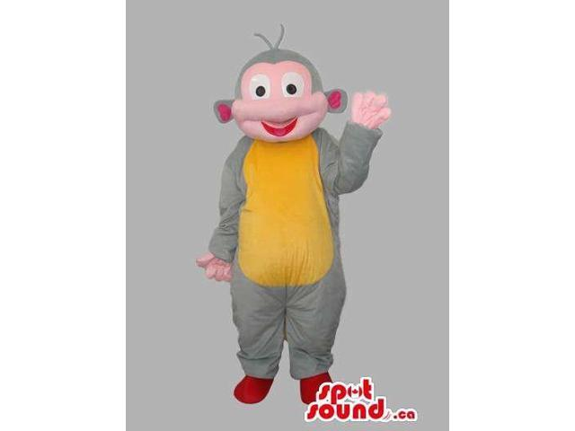 Grey, Yellow And Pink Fairy-Tale Monkey Animal Canadian SpotSound Mascot
