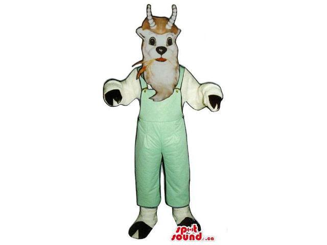 Customised White Goat Animal Plush Canadian SpotSound Mascot In Green Overalls