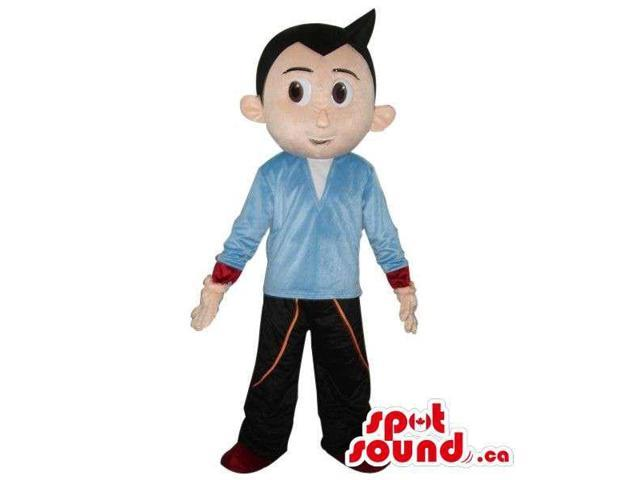 Black-Haired Boy Canadian SpotSound Mascot Dressed In A Blue Shirt And Brown Pants