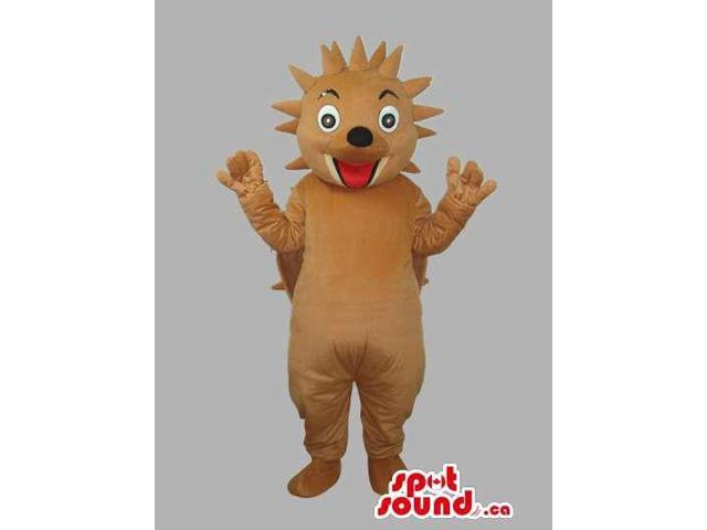 Brown Customised All Hedgehog Animal Canadian SpotSound Mascot With Happy Face