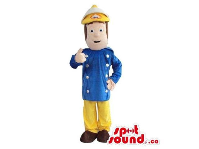 Character Canadian SpotSound Mascot Dressed In Fireman Gear And Tools