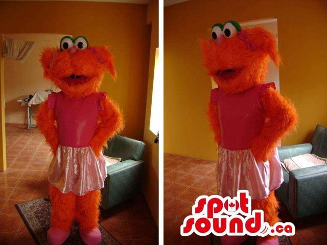 Great Customised Orange Woolly Muppets Canadian SpotSound Mascot Dressed In A Skirt