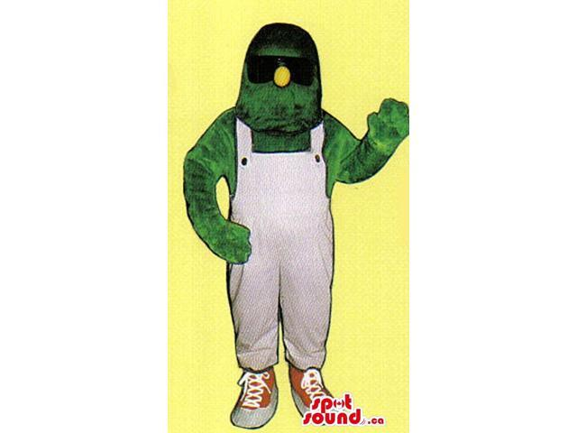 Green Monster Canadian SpotSound Mascot With A Yellow Nose And Overalls